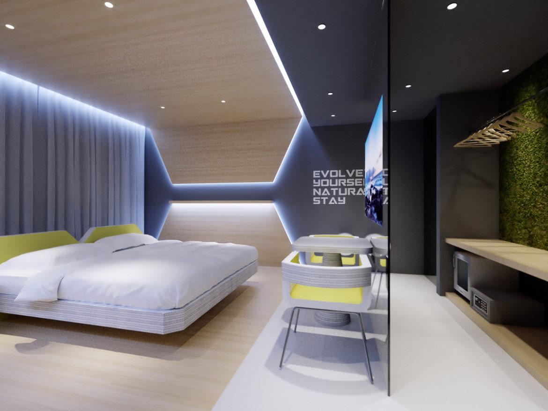 Evolve hotel usa double room think future design for Design hotel usa